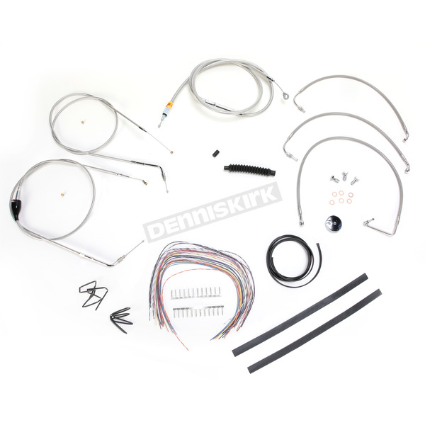 LA Choppers Stainless Braided Handlebar Cable and Brake Line Kit for Use w/Mini Ape Hangers - LA-8005KT2A-08