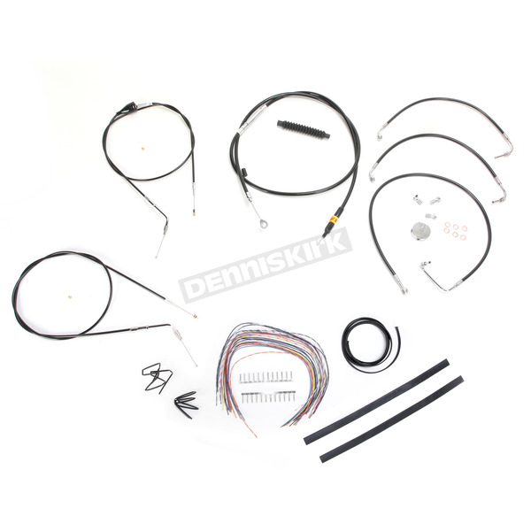 LA Choppers Black Vinyl Handlebar Cable and Brake Line Kit for Use w/18 in. - 20 in. Ape Hangers (w/o ABS) - LA-8005KT2A-19B