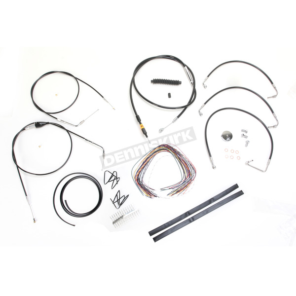 LA Choppers Black Vinyl Handlebar Cable and Brake Line Kit for Use w/Mini Ape Hangers (w/o ABS) - LA-8005KT2B-08B