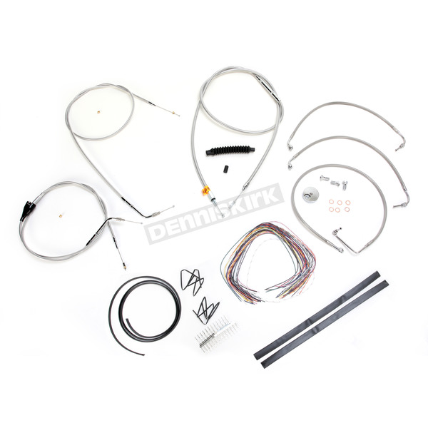 LA Choppers Stainless Braided Handlebar Cable and Brake Line Kit for Use w/12 in. - 14 in. Ape Hangers (w/o ABS) - LA-8005KT2B-13