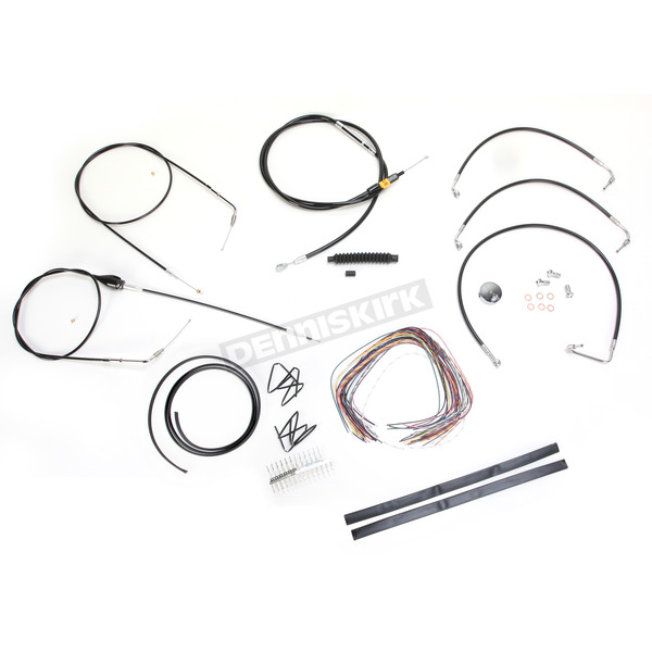 LA Choppers Black Vinyl Handlebar Cable and Brake Line Kit for Use w/15 in. - 17 in. Ape Hangers (w/o ABS) - LA-8005KT2B-16B