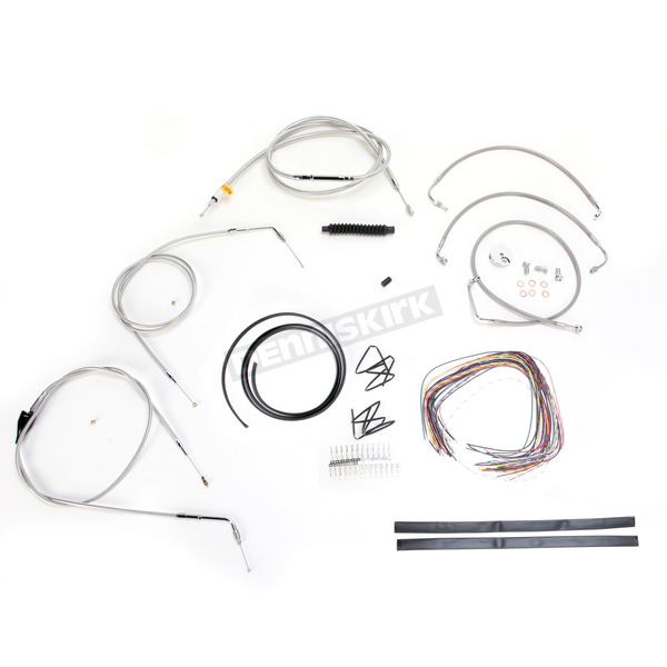 LA Choppers Stainless Braided Handlebar Cable and Brake Line Kit for Use w/18 in. - 20 in. Ape Hangers (w/o ABS) - LA-8005KT2B-19