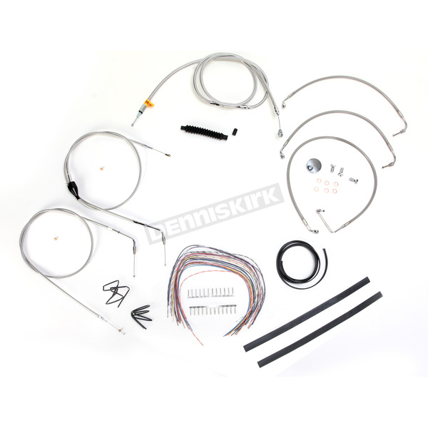 LA Choppers Stainless Braided Handlebar Cable and Brake Line Kit for Use w/Mini Ape Hangers (w/o ABS) - LA-8006KT2A-08
