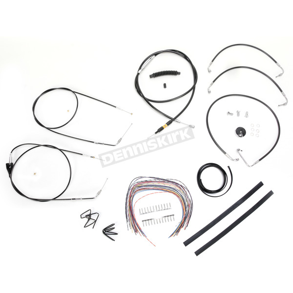 LA Choppers Black Vinyl Handlebar Cable and Brake Line Kit for Use w/15 in. - 17 in. Ape Hangers (w/o ABS) - LA-8006KT2A-16B