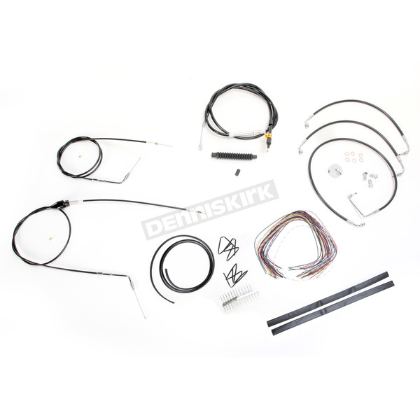 LA Choppers Black Vinyl Handlebar Cable and Brake Line Kit for Use w/12 in. - 14 in. Ape Hangers (w/o ABS) - LA-8006KT2B-13B