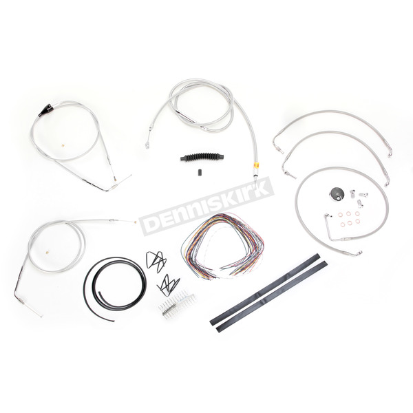 LA Choppers Stainless Braided Handlebar Cable and Brake Line Kit for Use w/15 in. - 17 in. Ape Hangers (w/o ABS) - LA-8006KT2B-16