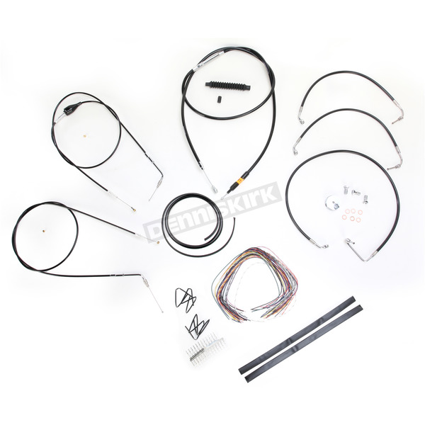 LA Choppers Black Vinyl Handlebar Cable and Brake Line Kit for Use w/15 in. - 17 in. Ape Hangers (w/o ABS) - LA-8006KT2B-16B