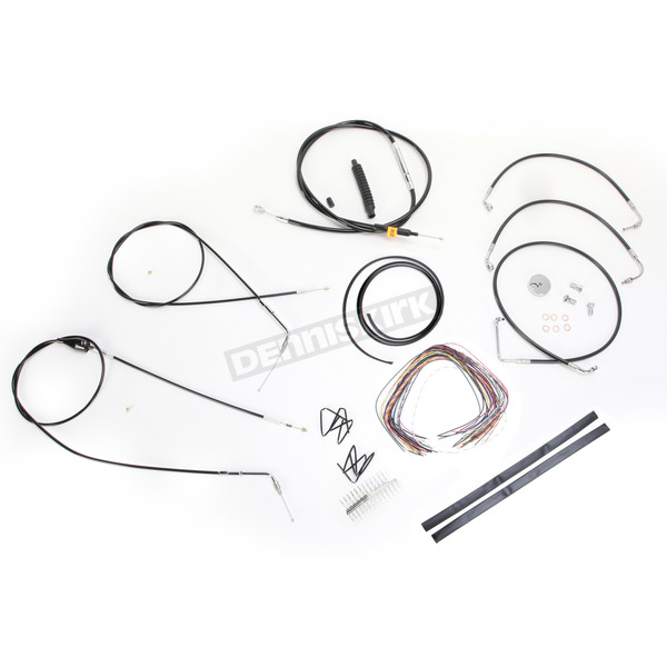 LA Choppers Black Vinyl Handlebar Cable and Brake Line Kit for Use w/18 in. - 20 in. Ape Hangers (w/ABS) - LA-8006KT2B-19B