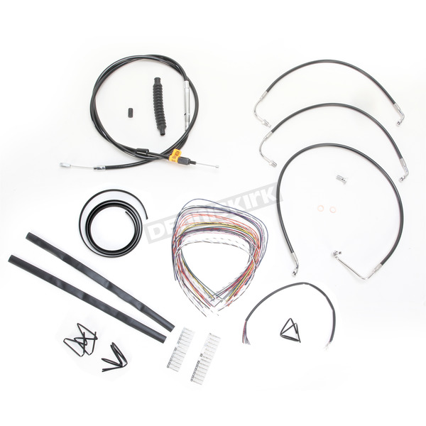 LA Choppers Black Vinyl Handlebar Cable and Brake Line Kit for Use w/Mini Ape Hangers w/o ABS - LA-8010KT2-08B