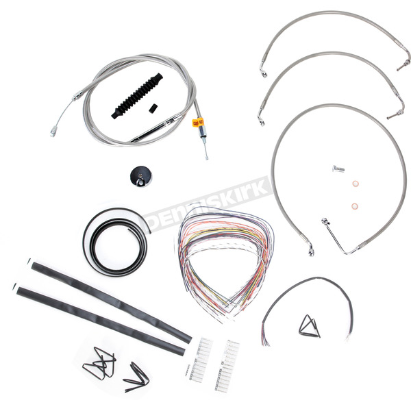 LA Choppers Stainless Braided Handlebar Cable and Brake Line Kit for Use w/15 in. - 17 in. Ape Hangers w/o ABS - LA-8010KT2-16