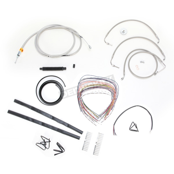 LA Choppers Stainless Braided Handlebar Cable and Brake Line Kit for Use w/18 in. - 20 in. Ape Hangers w/o ABS - LA-8010KT2-19