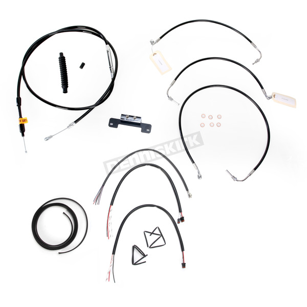 LA Choppers Black Vinyl Handlebar Cable and Brake Line Kit for Use w/18 in. - 20 in. Ape Hangers w/o ABS - LA-8011KT2-19B