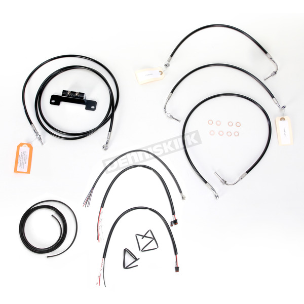 LA Choppers Black Vinyl Handlebar Cable and Brake Line Kit for Use w/15 in. - 17 in. Ape Hangers w/o ABS - LA-8012KT2-16B
