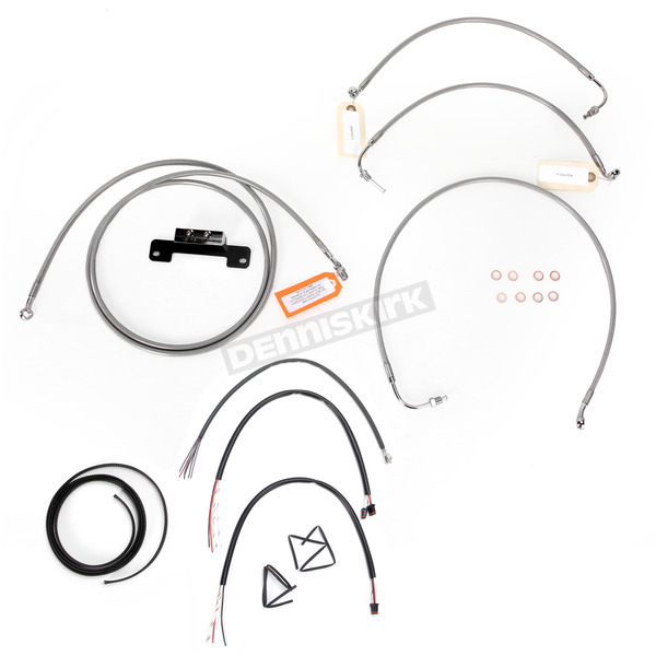 LA Choppers Stainless Braided Handlebar Cable and Brake Line Kit for Use w/18 in. - 20 in. Ape Hangers w/o ABS - LA-8012KT2-19