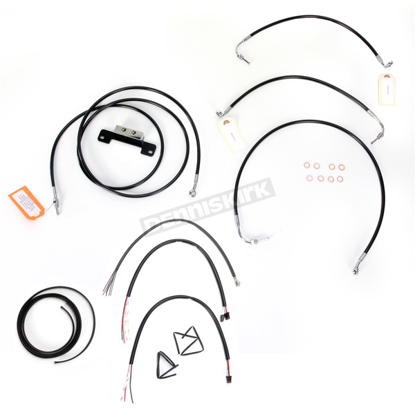 LA Choppers Black Vinyl Handlebar Cable and Brake Line Kit for Use w/18 in. - 20 in. Ape Hangers w/o ABS - LA-8012KT2-19B