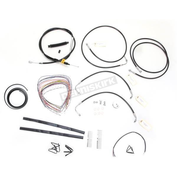 LA Choppers Black Vinyl Handlebar Cable and Brake Line Kit for Use w/Mini Ape Hangers  w/ABS - LA-8050KT2-08B