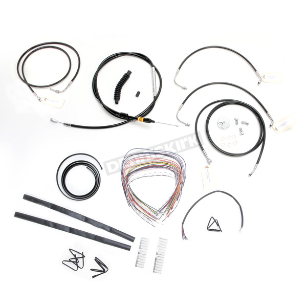 Black Vinyl Handlebar Cable and Brake Line Kit for Use w/18 in. - 20 in. Ape Hangers w/ABS - LA-8050KT2-19B