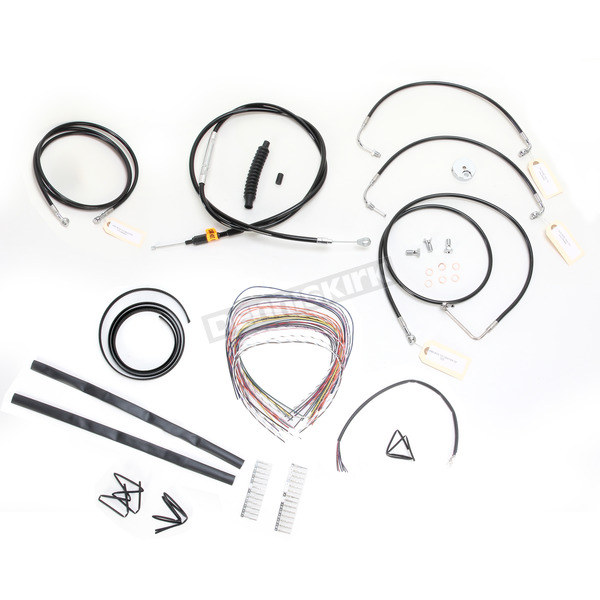 LA Choppers Black Vinyl Handlebar Cable and Brake Line Kit for Use w/12 in. - 14 in. Ape Hangers w/ABS - LA-8051KT2-13B