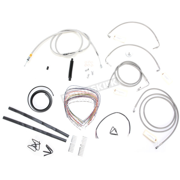 LA Choppers Stainless Braided Handlebar Cable and Brake Line Kit for Use w/18 in. - 20 in. Ape Hangers w/ABS - LA-8051KT2-19