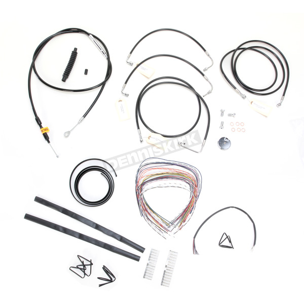 LA Choppers Black Vinyl Handlebar Cable and Brake Line Kit for Use w/18 in. - 20 in. Ape Hangers w/ABS - LA-8051KT2-19B