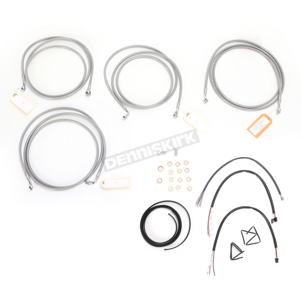 LA Choppers Stainless Braided Handlebar Cable and Brake Line Kit for Use w/12 in. - 14 in. Ape Hangers w/ABS - LA-8052KT2-13