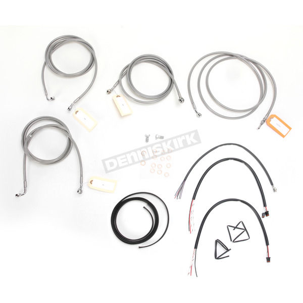 LA Choppers Stainless Braided Handlebar Cable and Brake Line Kit for Use w/15 in. - 17 in. Ape Hangers w/ABS - LA-8052KT2-16