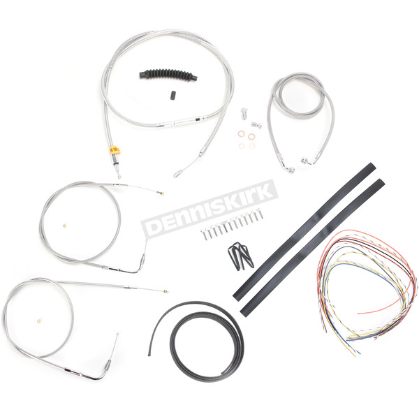 LA Choppers Stainless Braided Handlebar Cable and Brake Line Kit for Use w/12 in. - 14 in. Ape Hangers (w/o ABS) - LA-8100KT2A-13