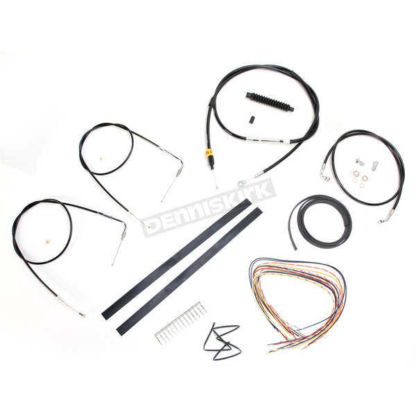 LA Choppers Black Vinyl Handlebar Cable and Brake Line Kit for Use w/Mini Ape Hangers w/o ABS - LA-8110KT2A-08B