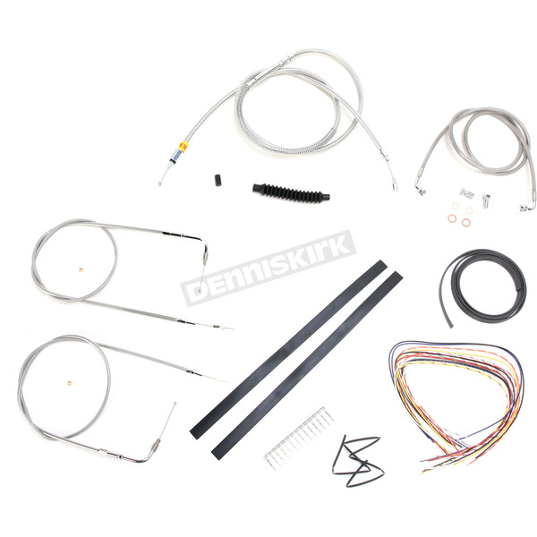 LA Choppers Stainless Braided Handlebar Cable and Brake Line Kit for Use w/15 in. - 17 in. Ape Hangers w/o ABS - LA-8110KT2A-16