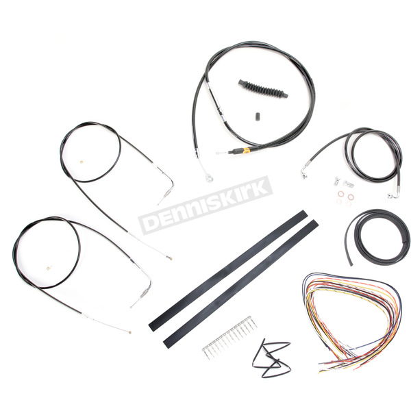 LA Choppers Black Vinyl Handlebar Cable and Brake Line Kit for Use w/18 in. - 20 in. Ape Hangers w/o ABS - LA-8110KT2A-19B