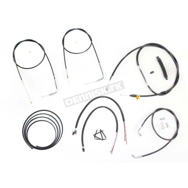 LA Choppers Black Vinyl Handlebar Cable and Brake Line Kit for Use w/Mini Ape Hangers w/o ABS - LA-8110KT2B-08B