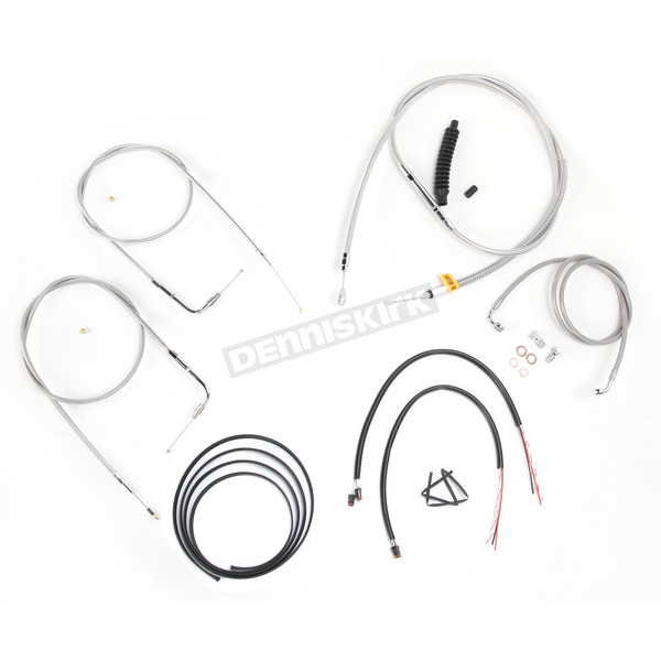 LA Choppers Stainless Braided Handlebar Cable and Brake Line Kit for Use w/12 in. - 14 in. Ape Hangers w/o ABS - LA-8110KT2B-13