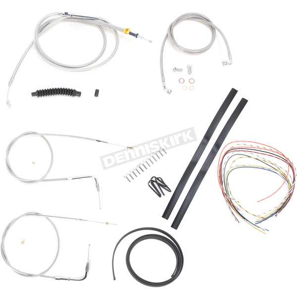 LA Choppers Stainless Braided Handlebar Cable and Brake Line Kit for Use w/Mini Ape Hangers (w/o ABS) - LA-8130KT2-08