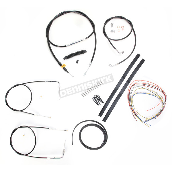 LA Choppers Black Vinyl Handlebar Cable and Brake Line Kit for Use w/Mini Ape Hangers (w/o ABS) - LA-8130KT2-08B