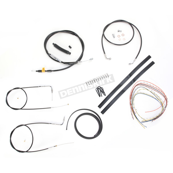 Black Vinyl Handlebar Cable and Brake Line Kit for Use w/12 in. - 14 in. Ape Hangers (w/o ABS) - LA-8130KT2-13B