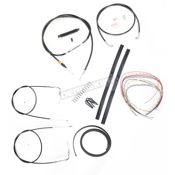 LA Choppers Black Vinyl Handlebar Cable and Brake Line Kit for Use w/15 in. - 17 in. Ape Hangers (w/o ABS) - LA-8130KT2-16B