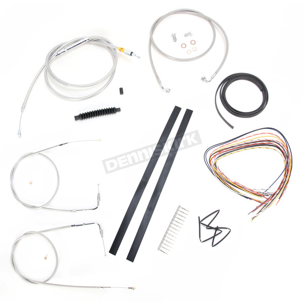 LA Choppers Stainless Braided Handlebar Cable and Brake Line Kit for Use w/Mini Ape Hangers (w/o ABS) - LA-8140KT2-08