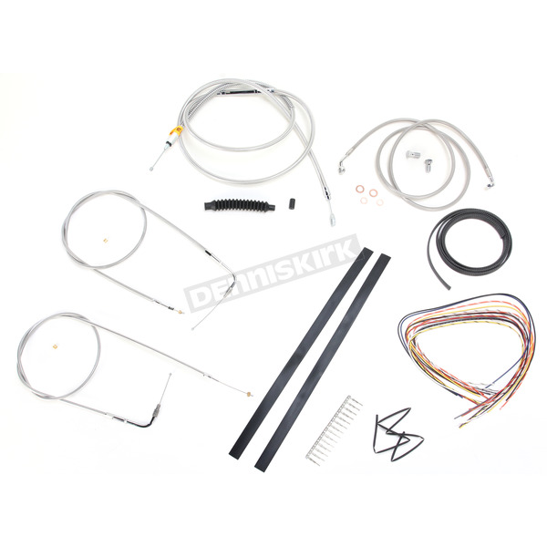 LA Choppers Stainless Braided Handlebar Cable and Brake Line Kit for Use w/18 in. - 20 in. Ape Hangers (w/o ABS) - LA-8140KT2-19