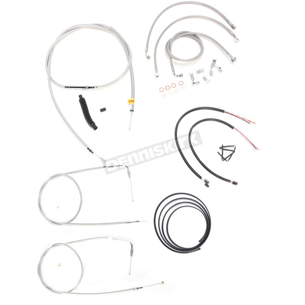 LA Choppers Stainless Braided Handlebar Cable and Brake Line Kit for Use w/18 in. - 20 in. Ape Hangers (w/ABS) - LA-8150KT2-19