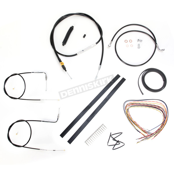 LA Choppers Black Vinyl Handlebar Cable and Brake Line Kit for Use w/Mini Ape Hangers (w/o ABS) - LA-8210KT2A-08B
