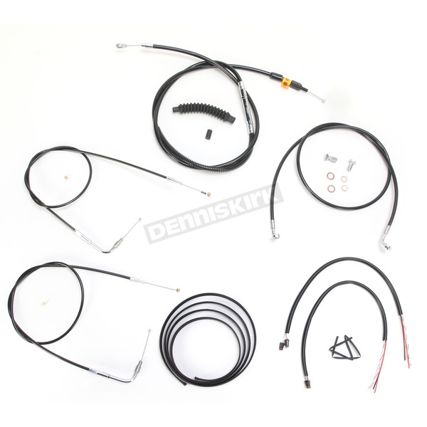 Black Vinyl Handlebar Cable and Brake Line Kit for Use w/15 in. - 17 in. Ape Hangers w/o ABS - LA-8210KT2B-16B
