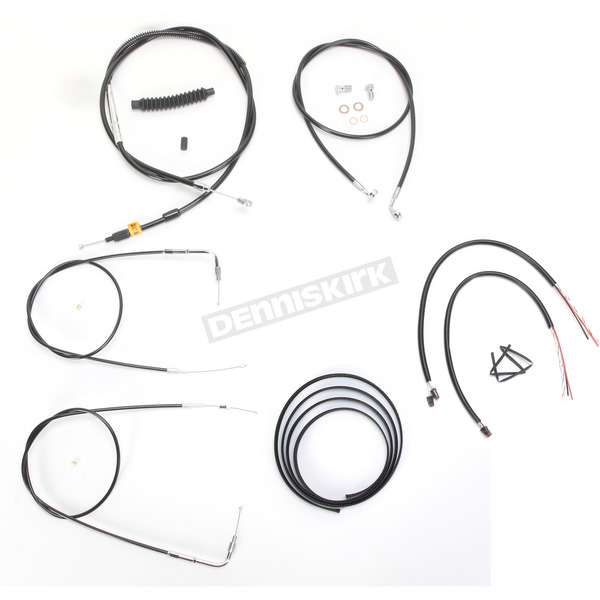 LA Choppers Black Vinyl Handlebar Cable and Brake Line Kit for Use w/18 in. - 20 in. Ape Hangers w/o ABS - LA-8210KT2B-19B