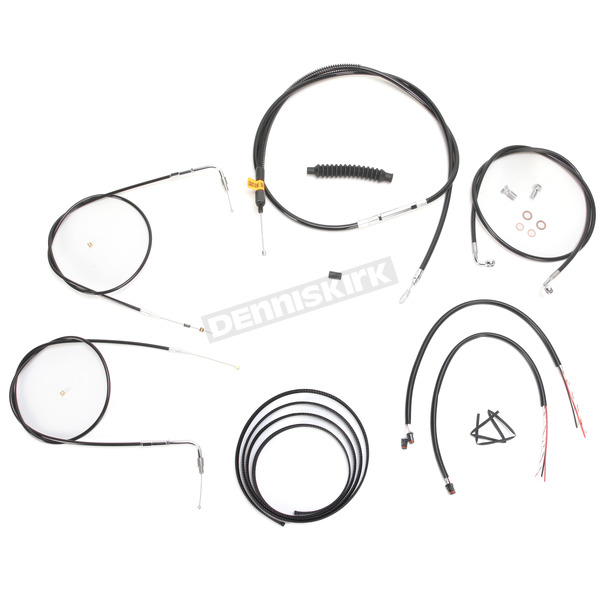LA Choppers Black Vinyl Handlebar Cable and Brake Line Kit for Use w/12 in. - 14 in. Ape Hangers w/o ABS - LA-8220KT2-13B