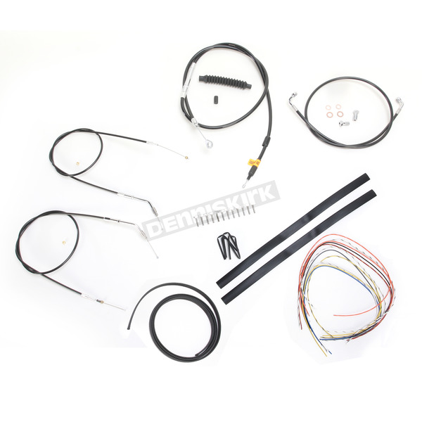 LA Choppers Black Vinyl Handlebar Cable and Brake Line Kit for Use w/Mini Ape Hangers (Single Disc) (w/o ABS) - LA-8300KT2-08B