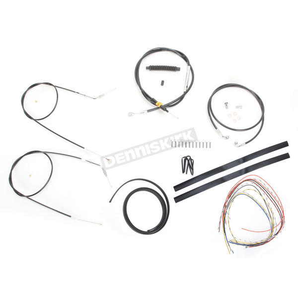 LA Choppers Black Vinyl Handlebar Cable and Brake Line Kit for Use w/18 in. - 20 in. Ape Hangers (Single Disc) (w/o ABS) - LA-8310KT2-19B