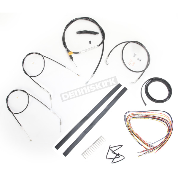 LA Choppers Black Vinyl Handlebar Cable and Brake Line Kit for Use w/Mini Ape Hangers (Single Disc) (w/o ABS) - LA-8320KT2A-08B