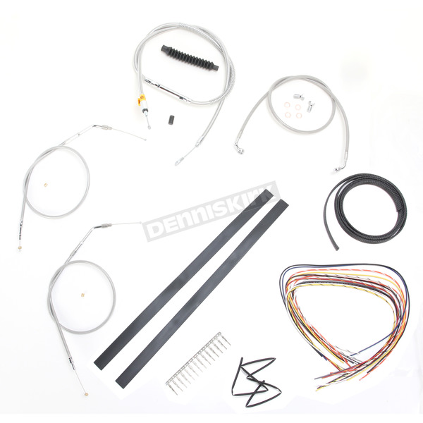 LA Choppers Stainless Braided Handlebar Cable and Brake Line Kit for Use w/Cafe Ape Hangers w/o ABS - LA-8320KT2A-0C