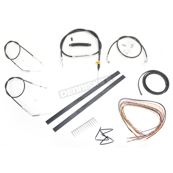 LA Choppers Black Vinyl Handlebar Cable and Brake Line Kit for Use w/Cafe Ape Hangers - LA-8320KT2A-0CB