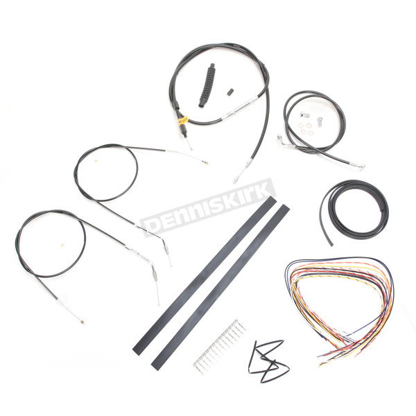 LA Choppers Black Vinyl Handlebar Cable and Brake Line Kit for Use w/12 in. - 14 in. Ape Hangers (Single Disc) (w/o ABS) - LA-8320KT2A-13B