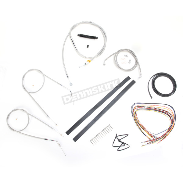 LA Choppers Stainless Braided Handlebar Cable and Brake Line Kit for Use w/18 in. - 20 in. Ape Hangers (Single Disc) (w/o ABS) - LA-8320KT2A-19